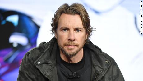 """Dax Shepard of """"Top Gear America"""" speaks during the Discovery MotorTrend segment of the 2020 Winter TCA Press Tour in January."""