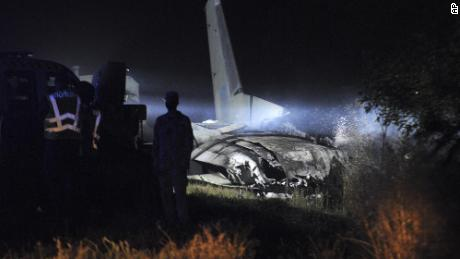 The Antonov An-26 military transport plane crashed near Chuguev in eastern Ukraine.