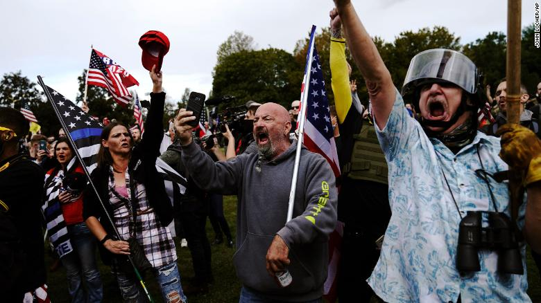 Portland on edge as far-right group holds rally with counterprotesters nearby