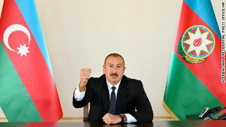 Azerbaijani President Ilham Aliyev speaks to the nation from the capital, Baku.