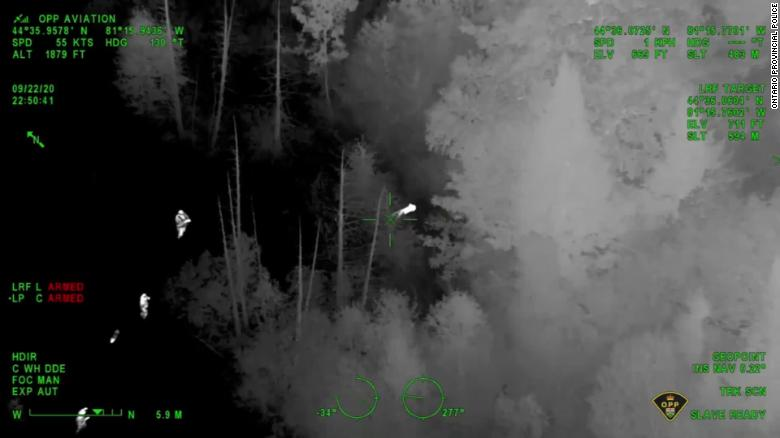 Canada boy rescued by police using night vision from a helicopter