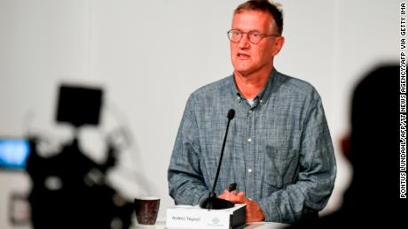 Swedish epidemiologist Anders Tegnell from the Public Health Agency of Sweden at a news conference in Stockholm on September 1.