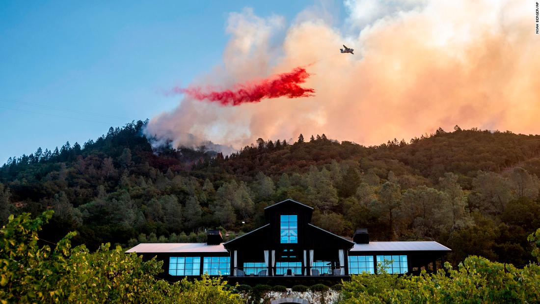 An air tanker drops fire retardant on the Glass Fire, which was burning near the Davis Estates winery in Calistoga on September 27.