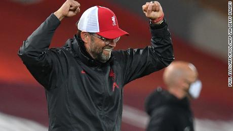 Liverpool manager Jürgen Klopp celebrates after Roberton's goal.