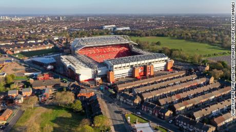 Anfield and Goodison Park (background) are separated by just 0.9 miles.