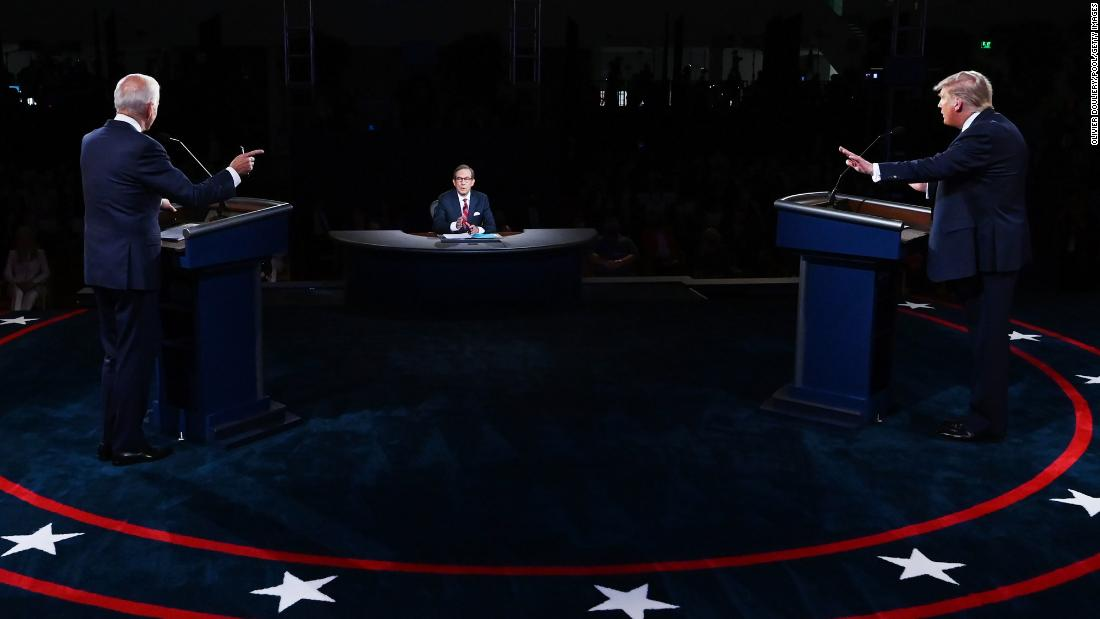 "Biden takes part in <a href=""http://www.cnn.com/2020/09/29/politics/gallery/biden-trump-first-2020-presidential-debate/index.html"" target=""_blank"">the first presidential debate</a> in September 2020. At center is moderator Chris Wallace, who had his hands full as <a href=""https://www.cnn.com/2020/09/29/politics/us-election-first-presidential-debate/index.html"" target=""_blank"">the debate often devolved into shouting, rancor and cross talk</a> that sometimes made it impossible to follow what either candidate was talking about."