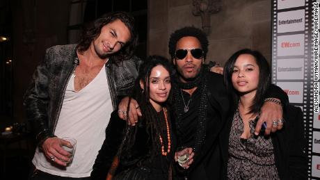 Jason Momoa, Lisa Bonet, Lenny Kravitz and Zoë Kravitz in 2010.  (Photo by Alexandra Wyman/WireImage)