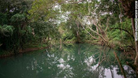 A view of the Mopan River in Melchor de Mencos, Guatemala, part of the Maya Biosphere Reserve.