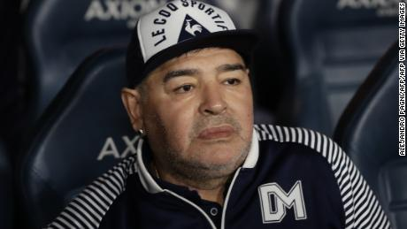 Maradona before the start of an Argentina First Division match between Boca Juniors and Gimnasia La Plata.
