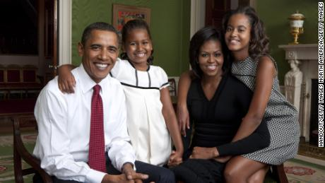 Former President Barack Obama and first lady Michelle pictured with daughters Sasha (left) and Malia (right) in 2009.