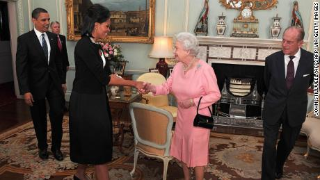 The Obamas meet with Queen Elizabeth II and Prince Philip, the Duke of Edinburgh in 2009.