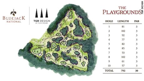 A illustration of the Tiger Woods-designed short course at the Bluejack National in Texas, US.