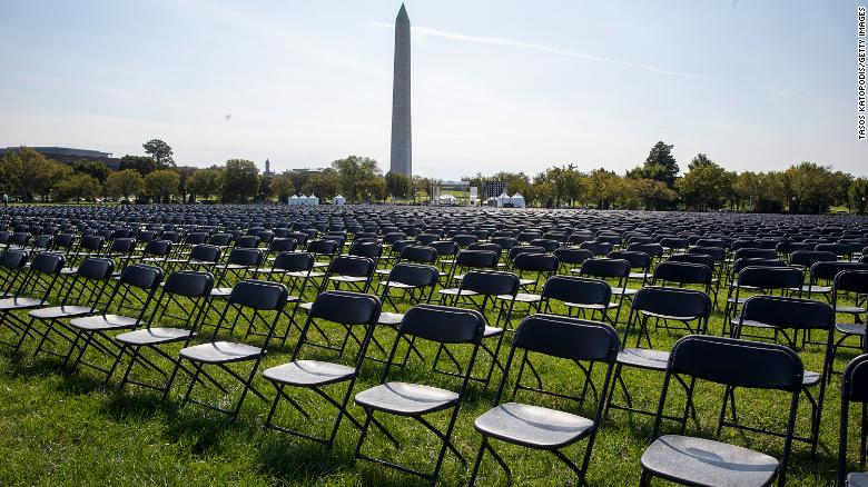 Covid-19 survivors set up 20,000 empty chairs near the White House to remember the more than 200,000 coronavirus victims