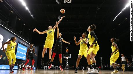 Breanna Stewart of the Seattle Storm stretches for the ball during Game 3 of the WNBA Finals against the Las Vegas Aces on Tuesday, October 6, 2020.
