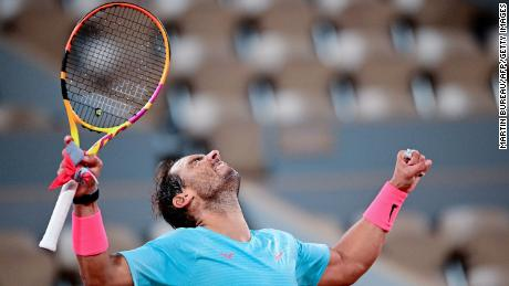 Nadal celebrates after beating Sinner.