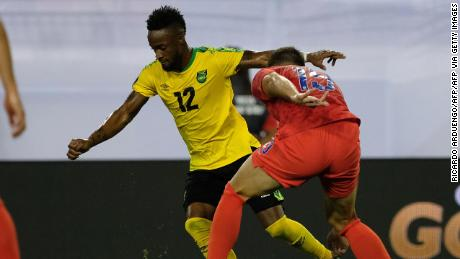 Junior Flemmings of Jamaica (L) battles for the ball with Matt Miazga of USA during the 2019 Concacaf Gold Cup semifinal football match between USA and Jamaica on July 3, 2019 in Nashville, Tennessee.