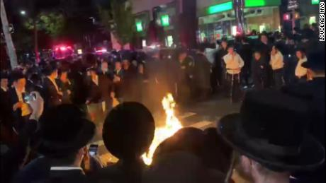 Protester Harold 'Heshy' Tischler taken into custody for inciting a riot during Orthodox Jewish protests against New York's Covid-19 restrictions
