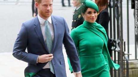 (From left) Prince Harry, Duke of Sussex, and Meghan, Duchess of Sussex, are shown here March 9, 2020, in London.