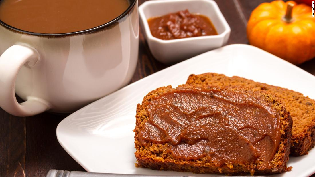 """Nothing says """"fall"""" quite like warm <a href=""""https://www.goodfoodstories.com/pumpkin-beer-bread/"""" target=""""_blank"""">pumpkin bread</a> topped with pumpkin butter (see article for butter recipe)."""