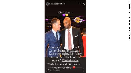 Vanessa Bryant congratulated the Lakers in a heartfelt Instagram post.