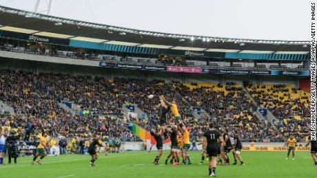 Fans watch on as Ardie Savea and Lukhan Salakaia-Loto compete for a lineout during the Bledisloe Cup match between the New Zealand All Blacks and Australia.