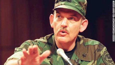 Norman Olson, then a militia commander, testified in fatigues before a Senate subcommittee in 1995.