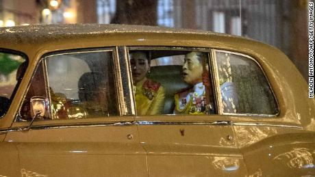 Thailand's King Maha Vajiralongkorn, right, rides with Queen Suthida, center, and Princess Bajrakitiyabha, as they leave the Grand Palace in Bangkok following a ceremony marking the fourth anniversary of the late King Bhumibol Adulyadej on Tuesday.