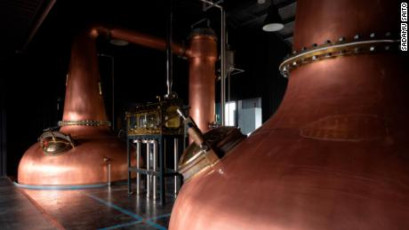 "Gin is distilled in copper stills. The stills used by Kiuchi Brewery have a ""swan neck"" design."