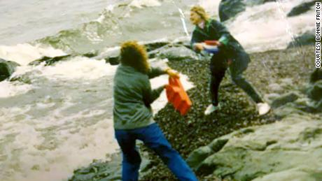 Brenda Schell and Bonnie Fritch launching the boats into the Great Lakes in 1993.