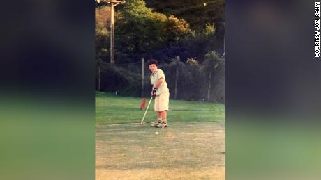 Rahm practices his putting when he was younger.