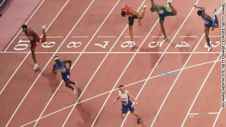 Warholm wins gold in last year's World Athletics Championships in Doha, Qatar, ahead of Benjamin and Samba.