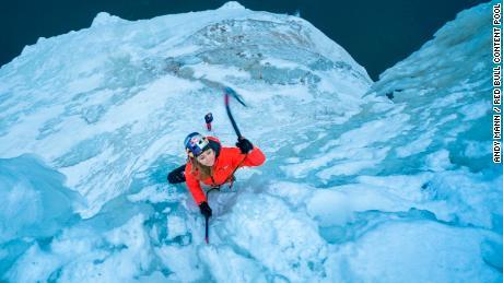 DiGiulian climbing the Upper Peninsula of Michigan, USA, in 2018.