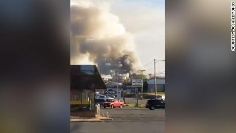 Five injured in blast, fire at strip mall