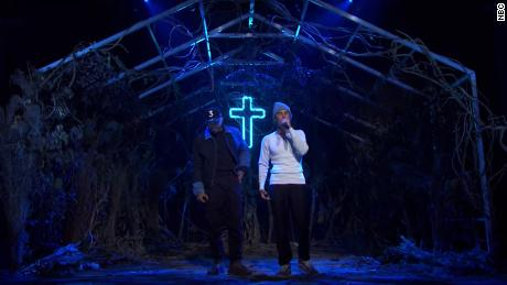 """Chance the Rapper (left) with Justin Bieber performing on """"Saturday Night Live"""" on Saturday, October 17, 2020."""