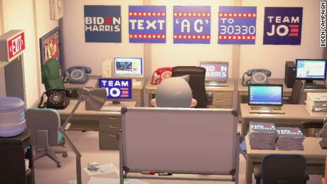 "A field office on Biden HQ, ジョー・バイデン's island on ""Animal Crossing."""