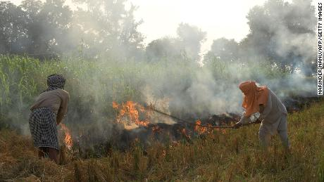 Farmers conducting stubble burning in a paddy field in Amritsar, India, on October 18.
