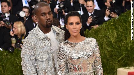 Kanye West and Kim Kardashian at the Costume Institute Gala at Metropolitan Museum of Art on May 2, 2016 in New York City.  (Photo by Dimitrios Kambouris/Getty Images)