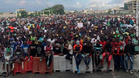 Protesters at Lekki toll gate in Lagos on Oct. 20.