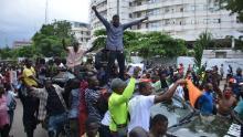 Protesters gather at Alausa Secretariat in Ikeja, Lagos State.