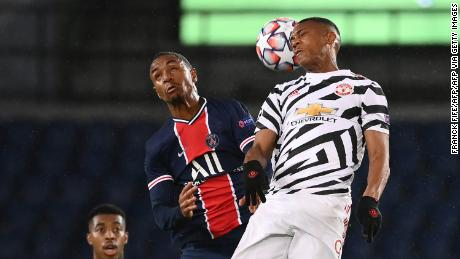 Anthony Martial heads the ball into his own net.