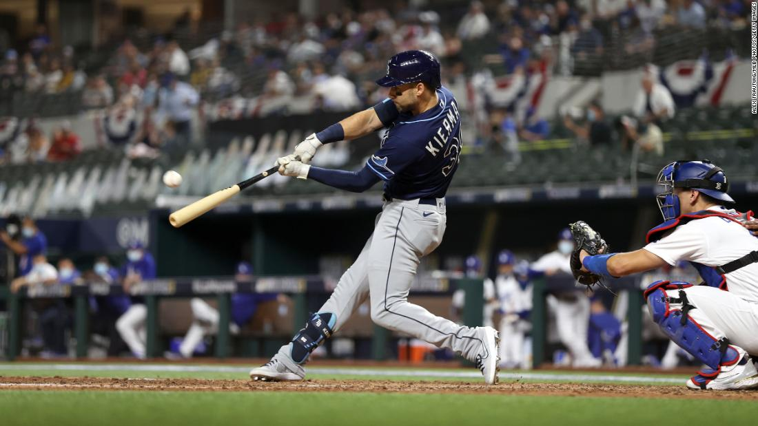 Tampa Bay Rays outfielder Kevin Kiermaier hits a home run in the fifth inning of Game 1.
