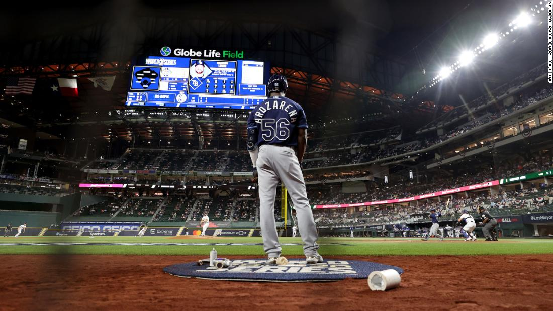 Rays outfielder Randy Arozarena stands in the on deck circle during Game 1.