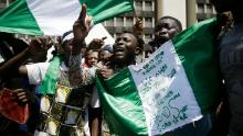 Protesters in Lagos on Tuesday.