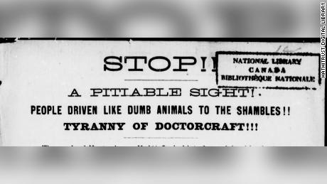 The headline to Dr. Ross' 1885 pamphlet denounced smallpox vaccinations.