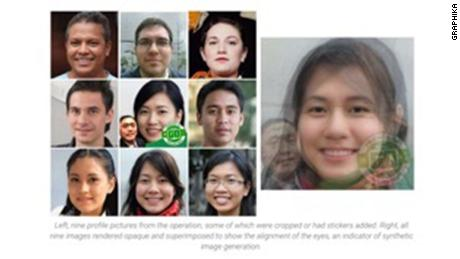 Fake accounts creators often have to steal profile photos of a real people. To get around that problem, the operation used artificial intelligence to generate images of fake faces.