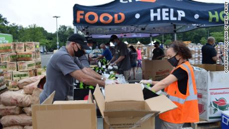 People package food at a distribution site set up by the Community Food Bank of New Jersey.