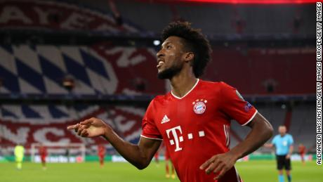 Kingsley Coman celebrates after scoring Bayern's fourth goal.