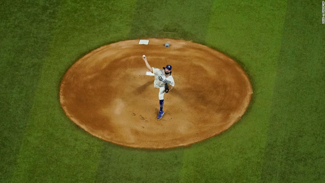 Dodgers starting pitcher Tony Gonsolin throws a pitch during the first inning of Game 2.