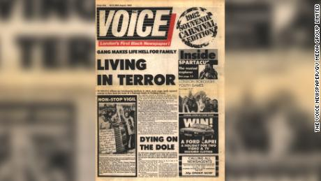 The inaugural edition of The Voice newspaper, launched at the Notting Hill Carnival in August 1982.