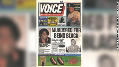 The Voice leads its front page on April 27, 1993 with the murder of Stephen Lawrence.